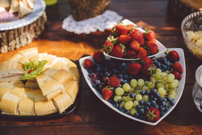 Sandwiches + fruit platter from a Boho Baby Pow Wow Party via Kara's Party Ideas | KarasPartyIdeas.com (11)