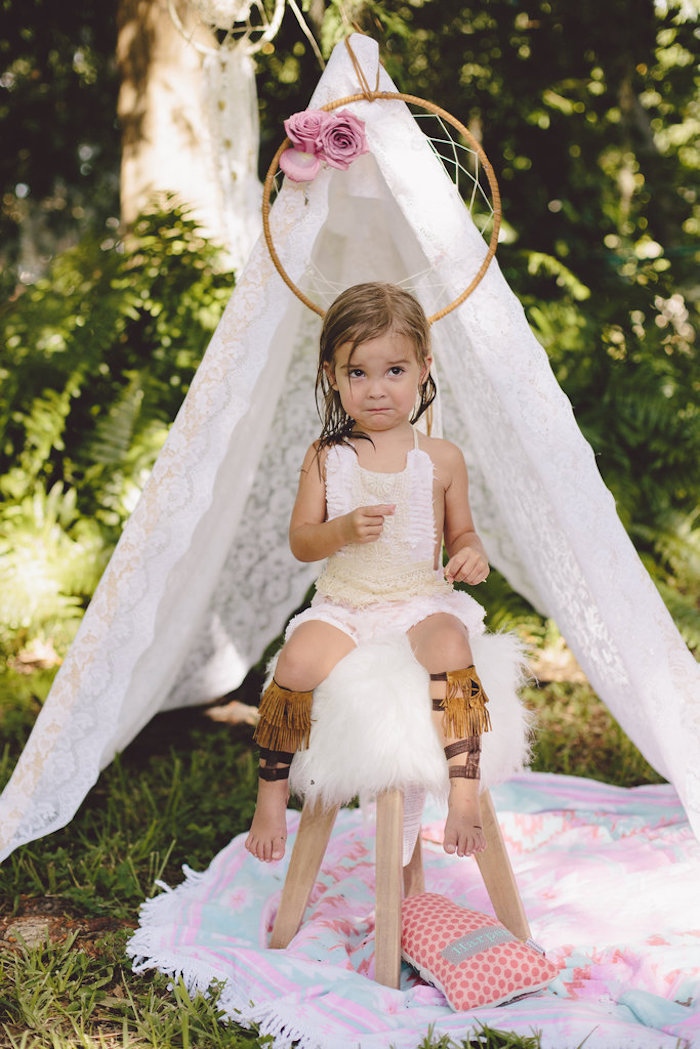 Teepee photo booth from a Boho Baby Pow Wow Party via Kara's Party Ideas | KarasPartyIdeas.com (8)