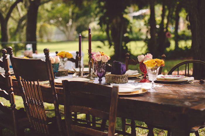 Boho dining table from a Boho Baby Pow Wow Party via Kara's Party Ideas | KarasPartyIdeas.com (24)