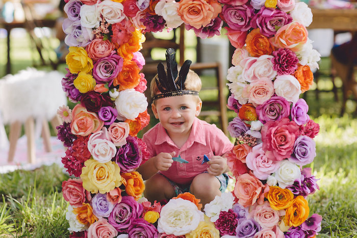 Floral photo frame from a Boho Baby Pow Wow Party via Kara's Party Ideas | KarasPartyIdeas.com (3)