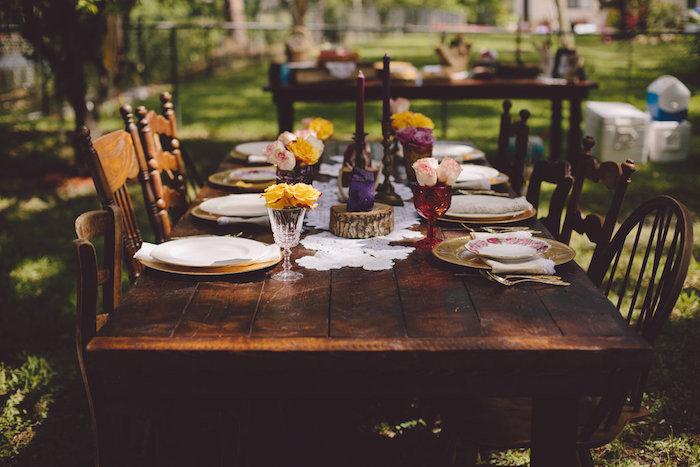 Dining table from a Boho Baby Pow Wow Party via Kara's Party Ideas | KarasPartyIdeas.com (21)