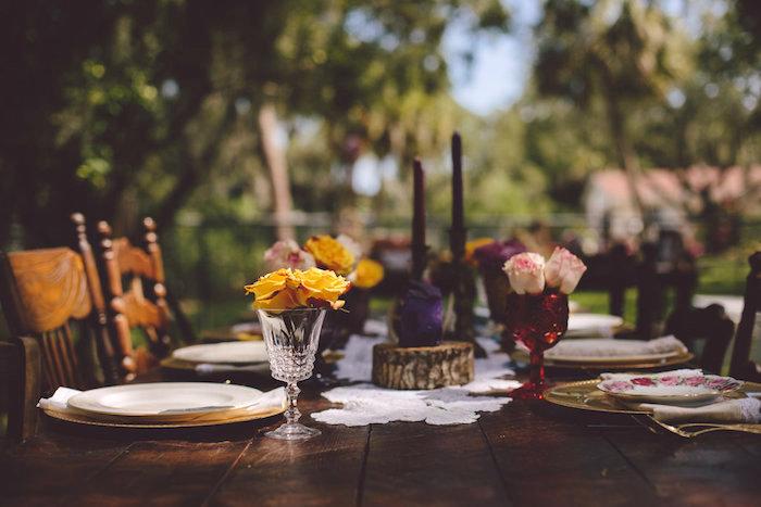 Dining tablescape from a Boho Baby Pow Wow Party via Kara's Party Ideas | KarasPartyIdeas.com (20)
