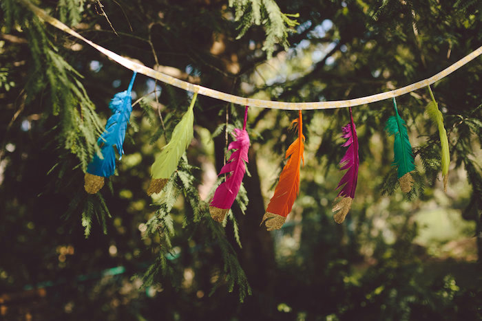 Feather garland from a Boho Baby Pow Wow Party via Kara's Party Ideas | KarasPartyIdeas.com (17)