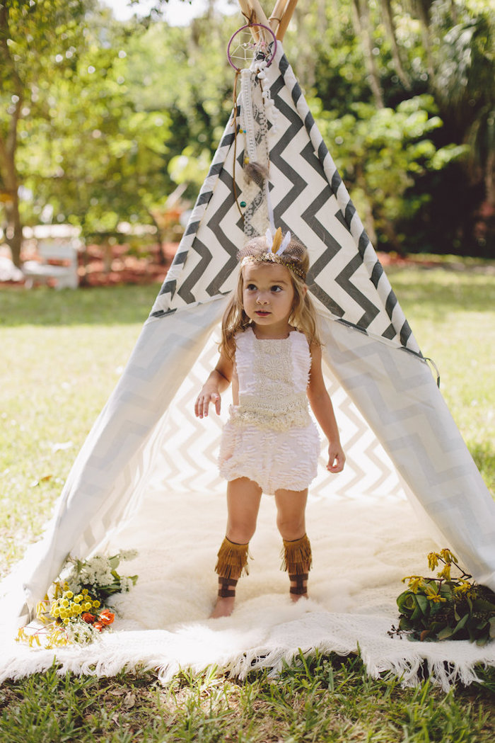 Teepee from a Boho Baby Pow Wow Party via Kara's Party Ideas | KarasPartyIdeas.com (16)