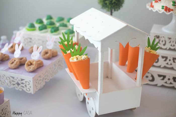 Carrot favor cones filled with popcorn from a Bunny Birthday Party at Kara's Party Ideas | KarasPartyIdeas.com (5)
