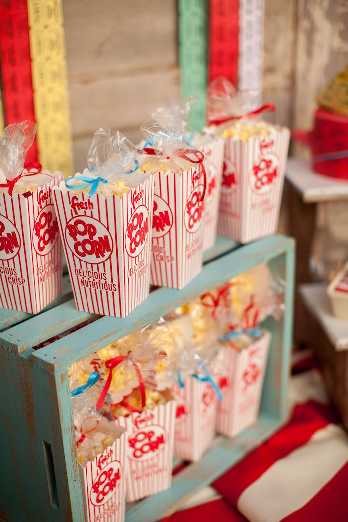 Popcorn from a Carnival Themed Gender Reveal Party via Kara's Party Ideas | KarasPartyIdeas.com (30)