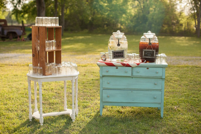 Beverage station from a Carnival Themed Gender Reveal Party via Kara's Party Ideas | KarasPartyIdeas.com (27)