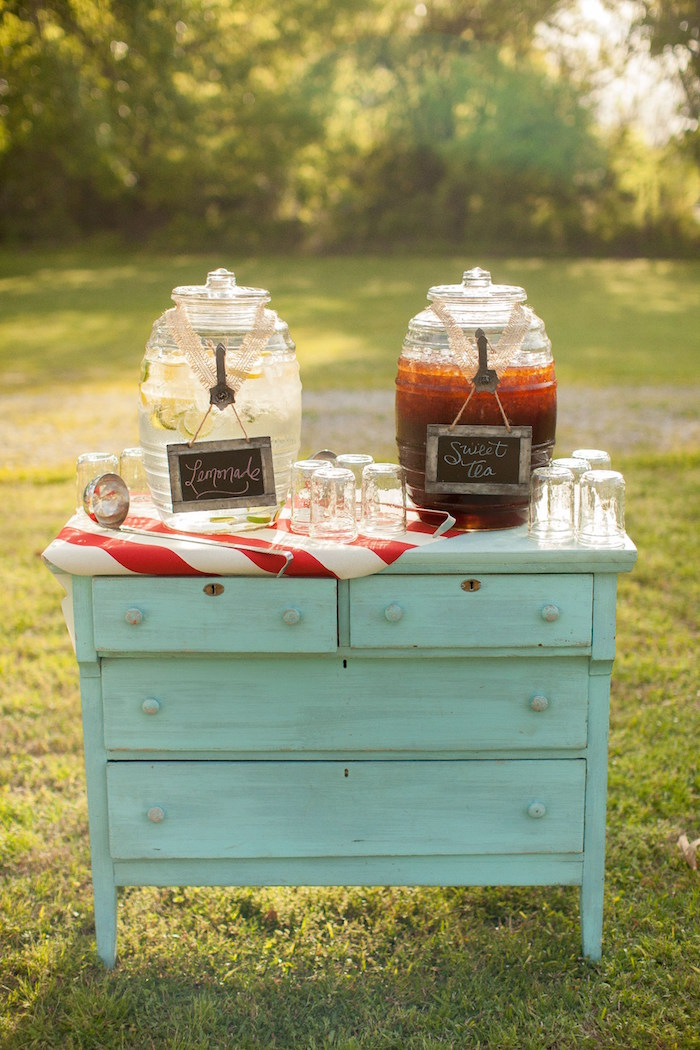 Beverage station from a Carnival Themed Gender Reveal Party via Kara's Party Ideas | KarasPartyIdeas.com (26)