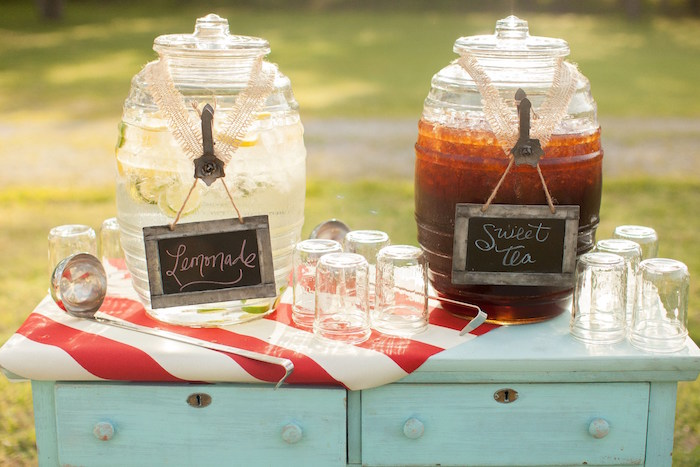 Drink dispensers from a Carnival Themed Gender Reveal Party via Kara's Party Ideas | KarasPartyIdeas.com (24)