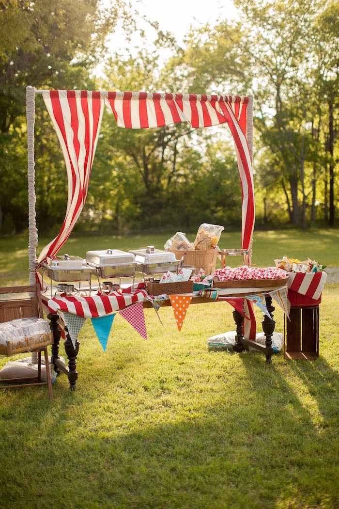 Food buffet table from a Carnival Themed Gender Reveal Party via Kara's Party Ideas | KarasPartyIdeas.com (23)