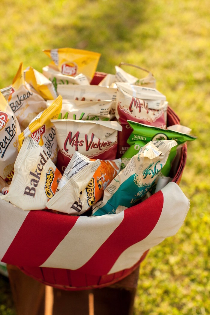 Chip bucket from a Carnival Themed Gender Reveal Party via Kara's Party Ideas | KarasPartyIdeas.com (21)
