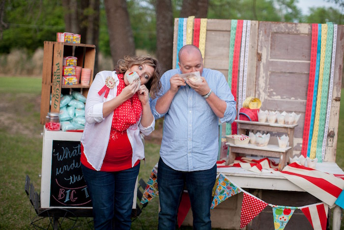 The reveal from a Carnival Themed Gender Reveal Party via Kara's Party Ideas | KarasPartyIdeas.com (13)