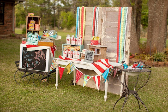 Head table from a Carnival Themed Gender Reveal Party via Kara's Party Ideas | KarasPartyIdeas.com (40)