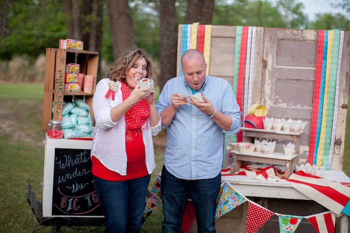 The reveal from a Carnival Themed Gender Reveal Party via Kara's Party Ideas | KarasPartyIdeas.com (12)
