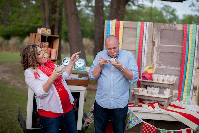 The reveal from a Carnival Themed Gender Reveal Party via Kara's Party Ideas | KarasPartyIdeas.com (11)