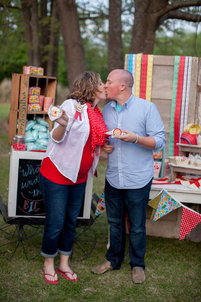 The reveal from a Carnival Themed Gender Reveal Party via Kara's Party Ideas | KarasPartyIdeas.com (10)