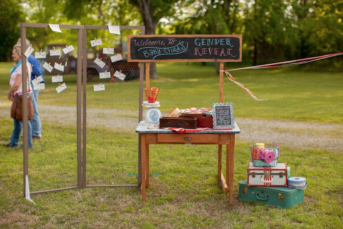 Welcome table + chicken wire guessing board from a Carnival Themed Gender Reveal Party via Kara's Party Ideas | KarasPartyIdeas.com (6)