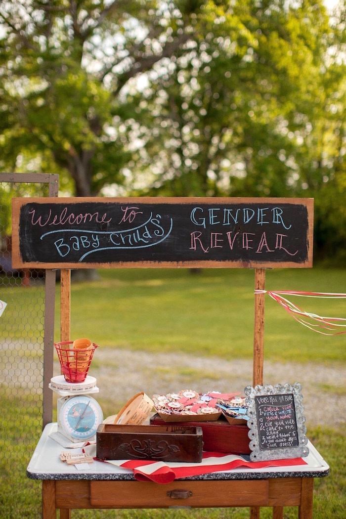 Welcome table + stand from a Carnival Themed Gender Reveal Party via Kara's Party Ideas | KarasPartyIdeas.com (5)