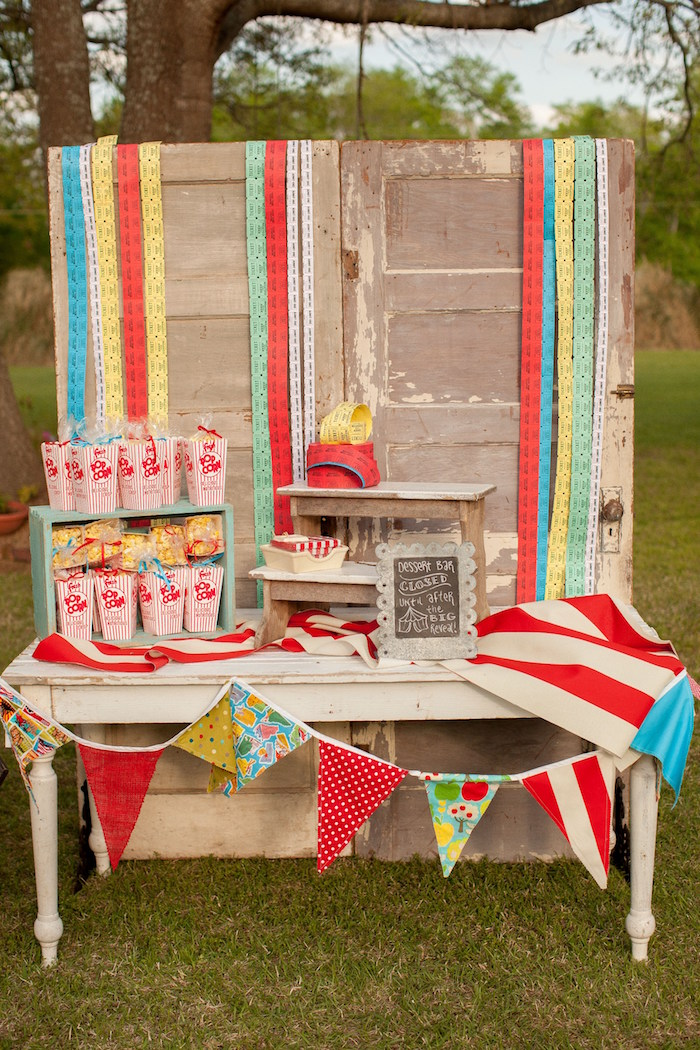 Head table from a Carnival Themed Gender Reveal Party via Kara's Party Ideas | KarasPartyIdeas.com (34)