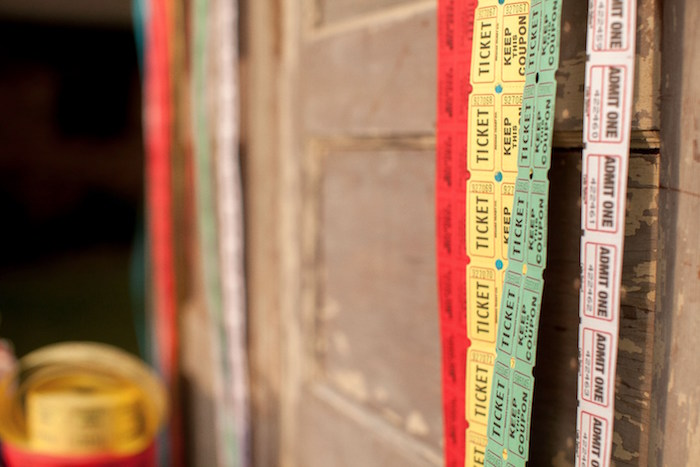 Ticket strip garland from a Carnival Themed Gender Reveal Party via Kara's Party Ideas | KarasPartyIdeas.com (33)