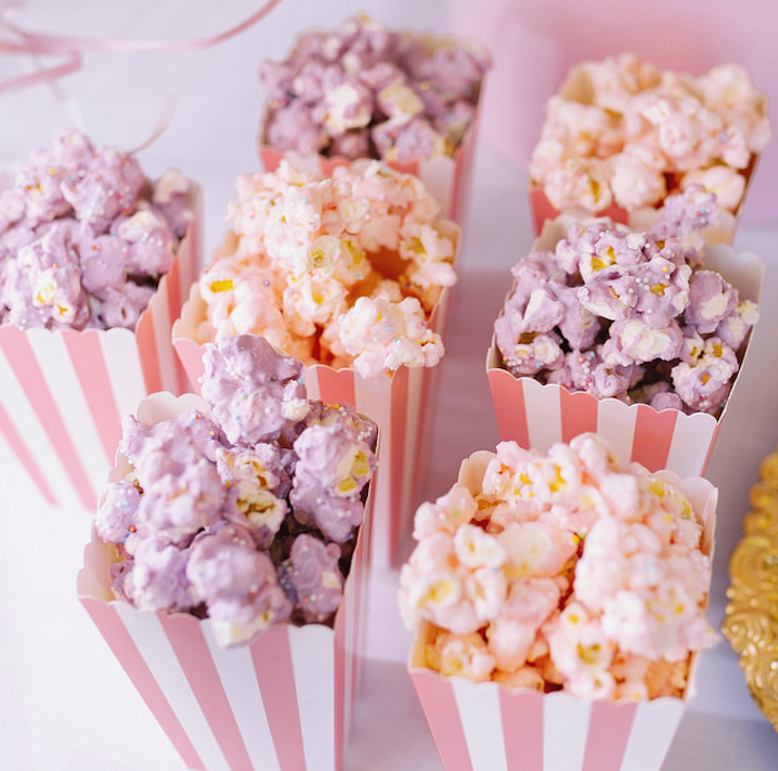 Sprinkled colored popcorn from a Carousel of Dreams Birthday Party via Kara's Party Ideas | KarasPartyIdeas.com (10)