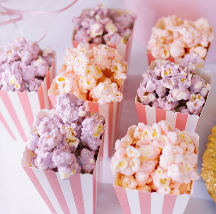 Sprinkled colored popcorn from a Carousel of Dreams Birthday Party via Kara's Party Ideas | KarasPartyIdeas.com (10)
