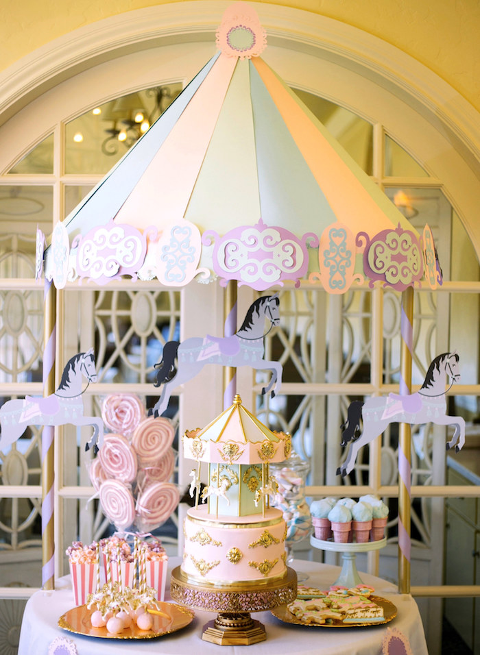 Carousel dessert table from a Carousel of Dreams Birthday Party via Kara's Party Ideas | KarasPartyIdeas.com (9)