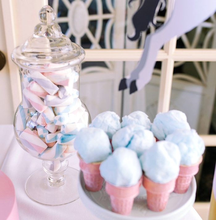 Cotton candy cones painted with wilton pearl dust from a Carousel of Dreams Birthday Party via Kara's Party Ideas | KarasPartyIdeas.com (6)