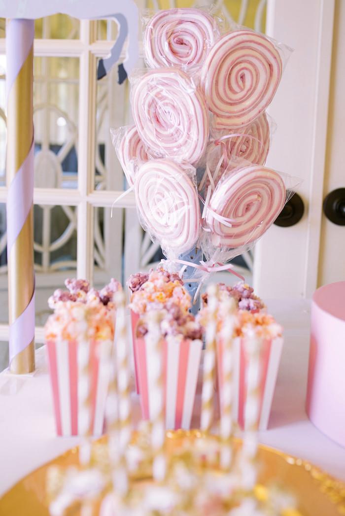 Popcorn and marshmallow lollipops from a Carousel of Dreams Birthday Party via Kara's Party Ideas | KarasPartyIdeas.com (5)