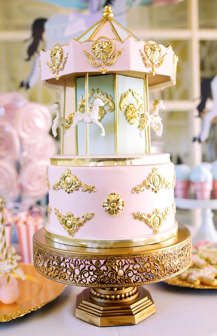 Gorgeous carousel cake from a Carousel of Dreams Birthday Party via Kara's Party Ideas | KarasPartyIdeas.com (3)