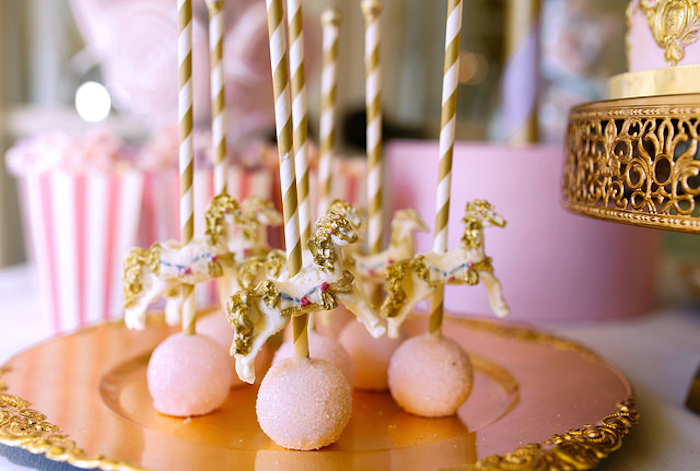 Carousel cake pops from a Carousel of Dreams Birthday Party via Kara's Party Ideas | KarasPartyIdeas.com (19)