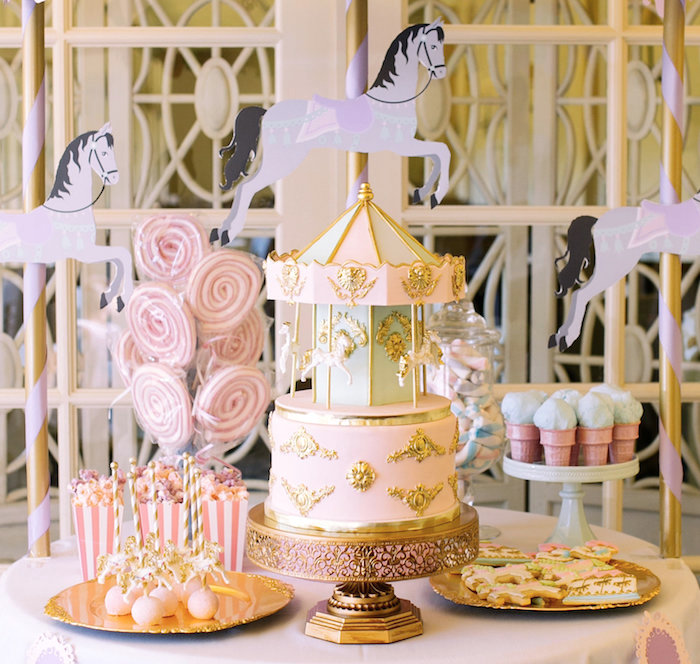Carousel dessert table from a Carousel of Dreams Birthday Party via Kara's Party Ideas | KarasPartyIdeas.com (18)