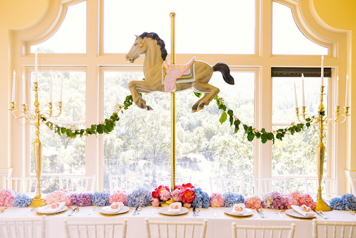 Carousel party table from a Carousel of Dreams Birthday Party via Kara's Party Ideas | KarasPartyIdeas.com (16)