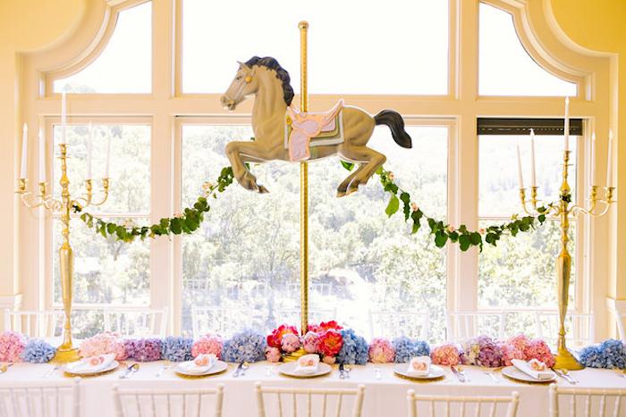 Carousel party table from a Carousel of Dreams Birthday Party via Kara's Party Ideas | KarasPartyIdeas.com (16)