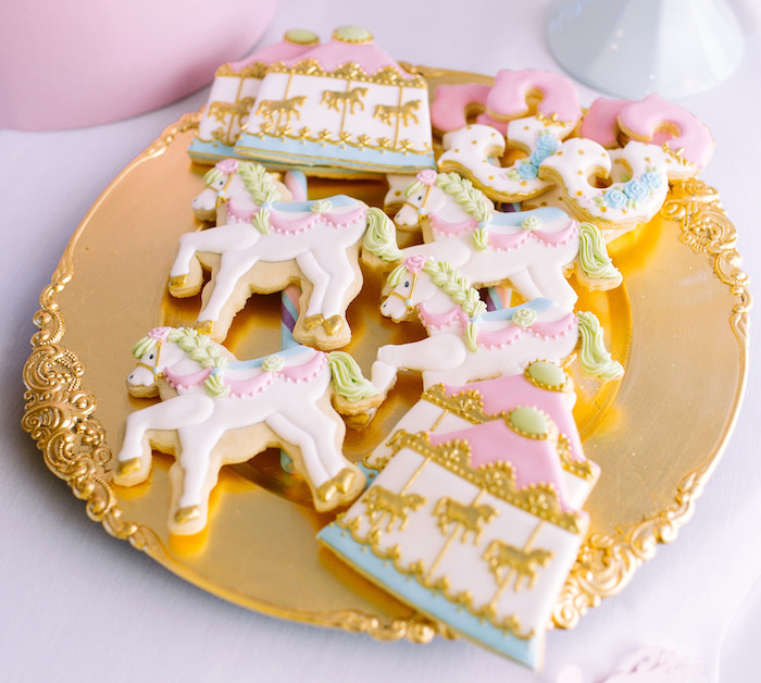 Carousel and carousel pony cookies from a Carousel of Dreams Birthday Party via Kara's Party Ideas | KarasPartyIdeas.com (13)