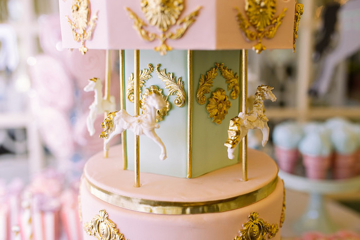 Carousel cake detail from a Carousel of Dreams Birthday Party via Kara's Party Ideas | KarasPartyIdeas.com (12)