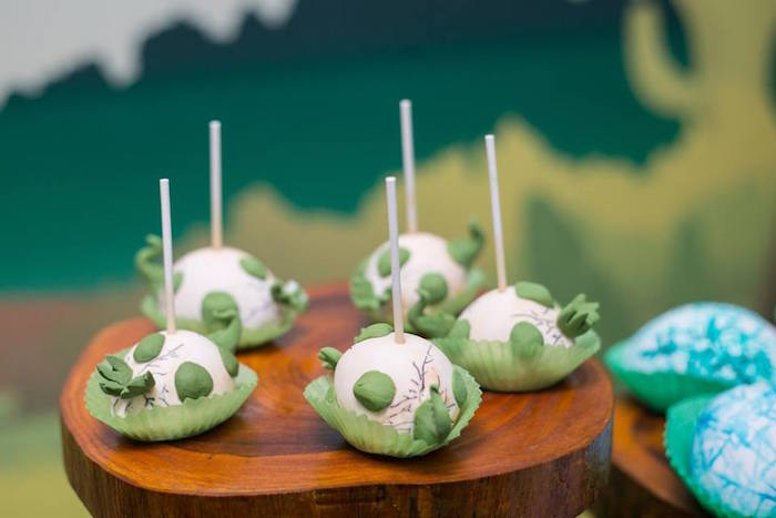 Hatching dinosaur egg cake pops from a Dinosaur Birthday Party via Kara's Party Ideas | KarasPartyIdeas.com (12)