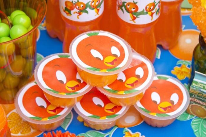 Orange Bird fruit cups from a Disney's Orange Bird Birthday Pool Party via Kara's Party Ideas KarasPartyIdeas.com (3)