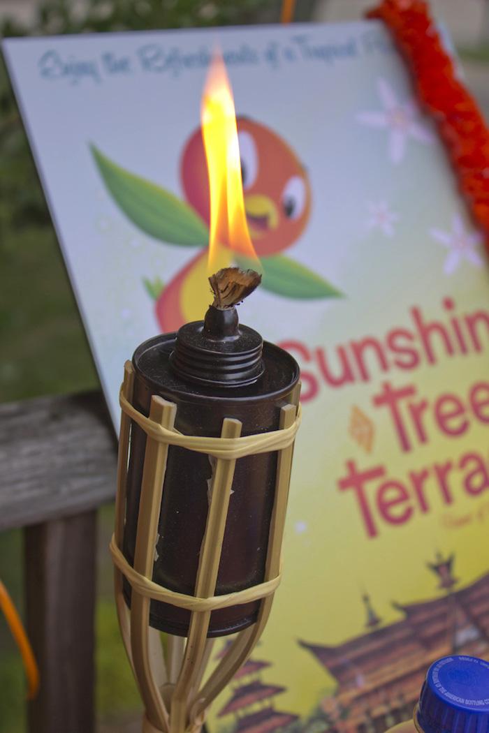 Tiki torch from a Disney's Orange Bird Birthday Pool Party via Kara's Party Ideas KarasPartyIdeas.com (2)