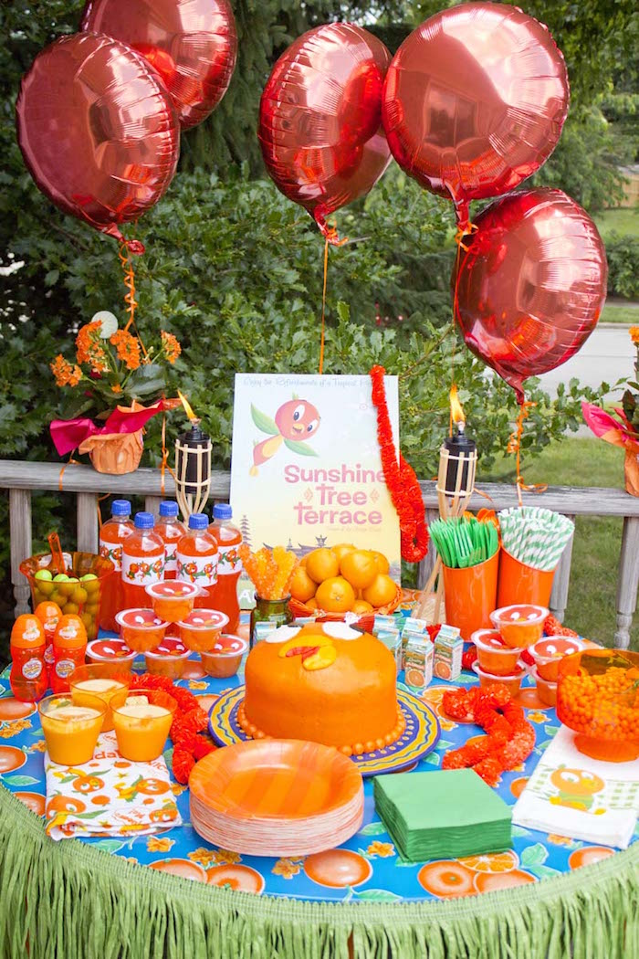 Karas Party Ideas Disneys Orange Bird Birthday Pool Party