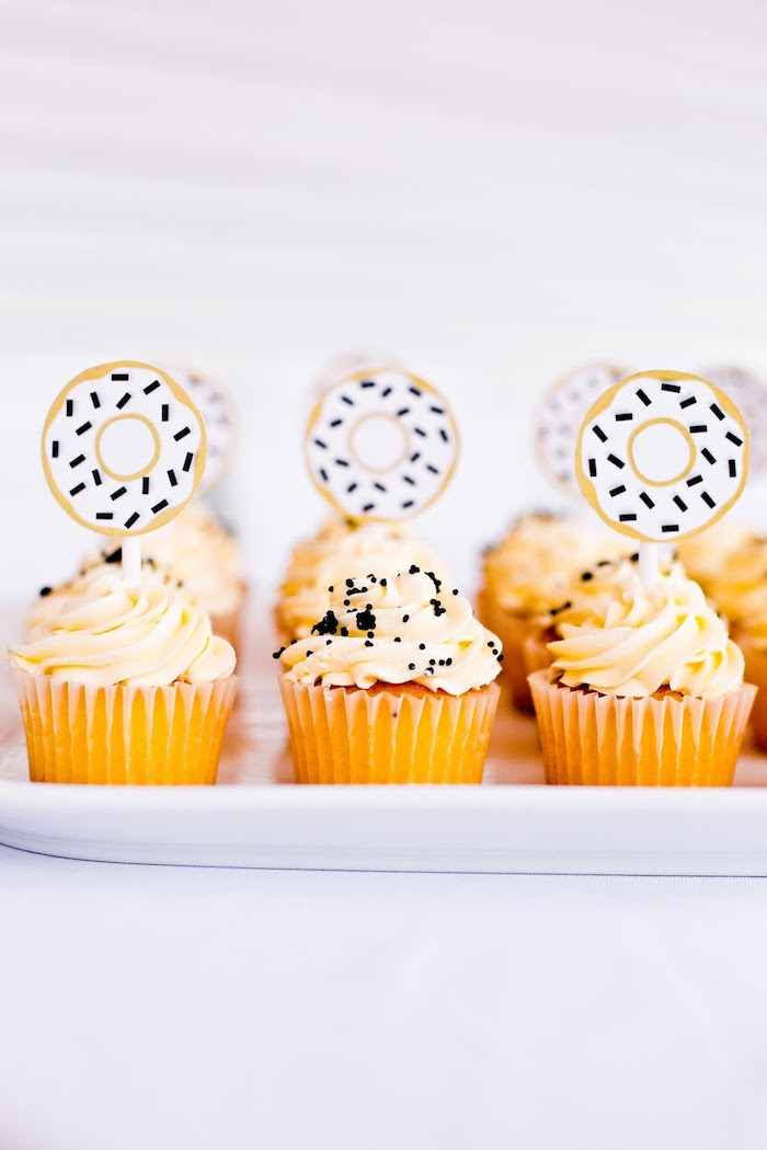Cupcakes from a Donut Birthday Bash on Kara's Party Ideas | KarasPartyIdeas.com (20)