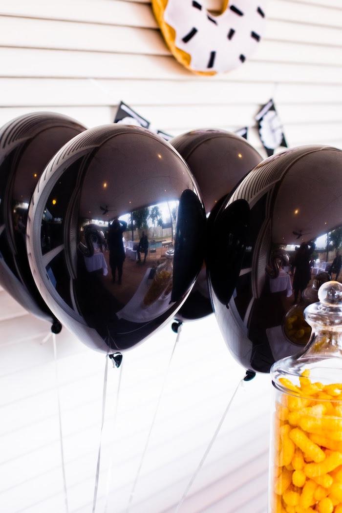 Black balloons from a Donut Birthday Bash on Kara's Party Ideas | KarasPartyIdeas.com (19)
