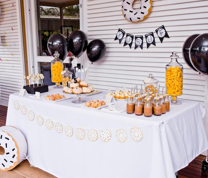 Donut dessert table from a Donut Birthday Bash on Kara's Party Ideas | KarasPartyIdeas.com (17)