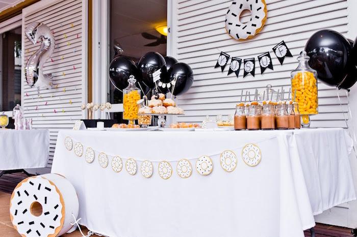 Donut dessert table from a Donut Birthday Bash on Kara's Party Ideas | KarasPartyIdeas.com (16)
