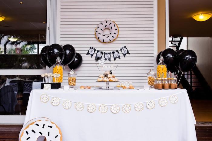 Donut dessert table from a Donut Birthday Bash on Kara's Party Ideas | KarasPartyIdeas.com (15)