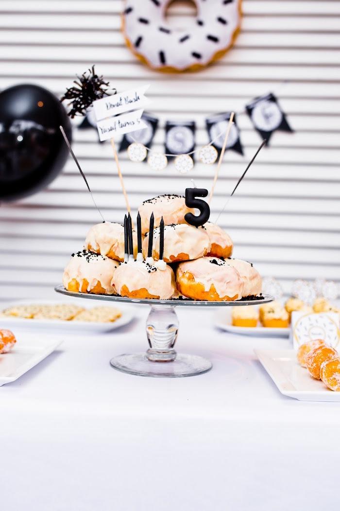 Donut cake from a Donut Birthday Bash on Kara's Party Ideas | KarasPartyIdeas.com (10)