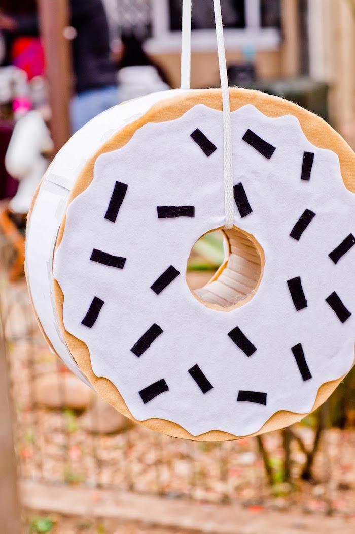 Donut piñata from a Donut Birthday Bash on Kara's Party Ideas | KarasPartyIdeas.com (8)
