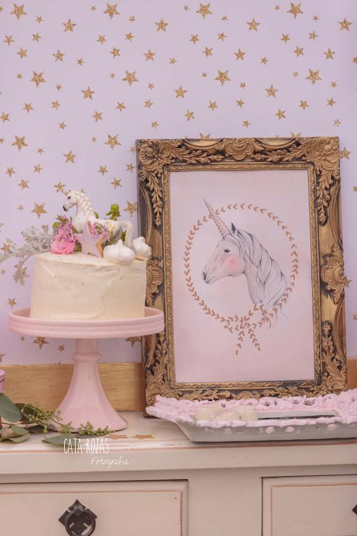Cake + unicorn print sign from a Dreamy Unicorn Birthday Party on Kara's Party Ideas | KarasPartyIdeas.com (5)
