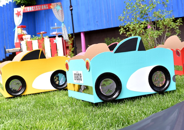 Cardboard box cars from a Drive In Movie Night Birthday Party via Kara's Party Ideas | KarasPartyIdeas.com (26)