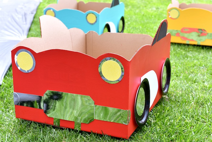 Cardboard box car from a Drive In Movie Night Birthday Party via Kara's Party Ideas | KarasPartyIdeas.com (25)